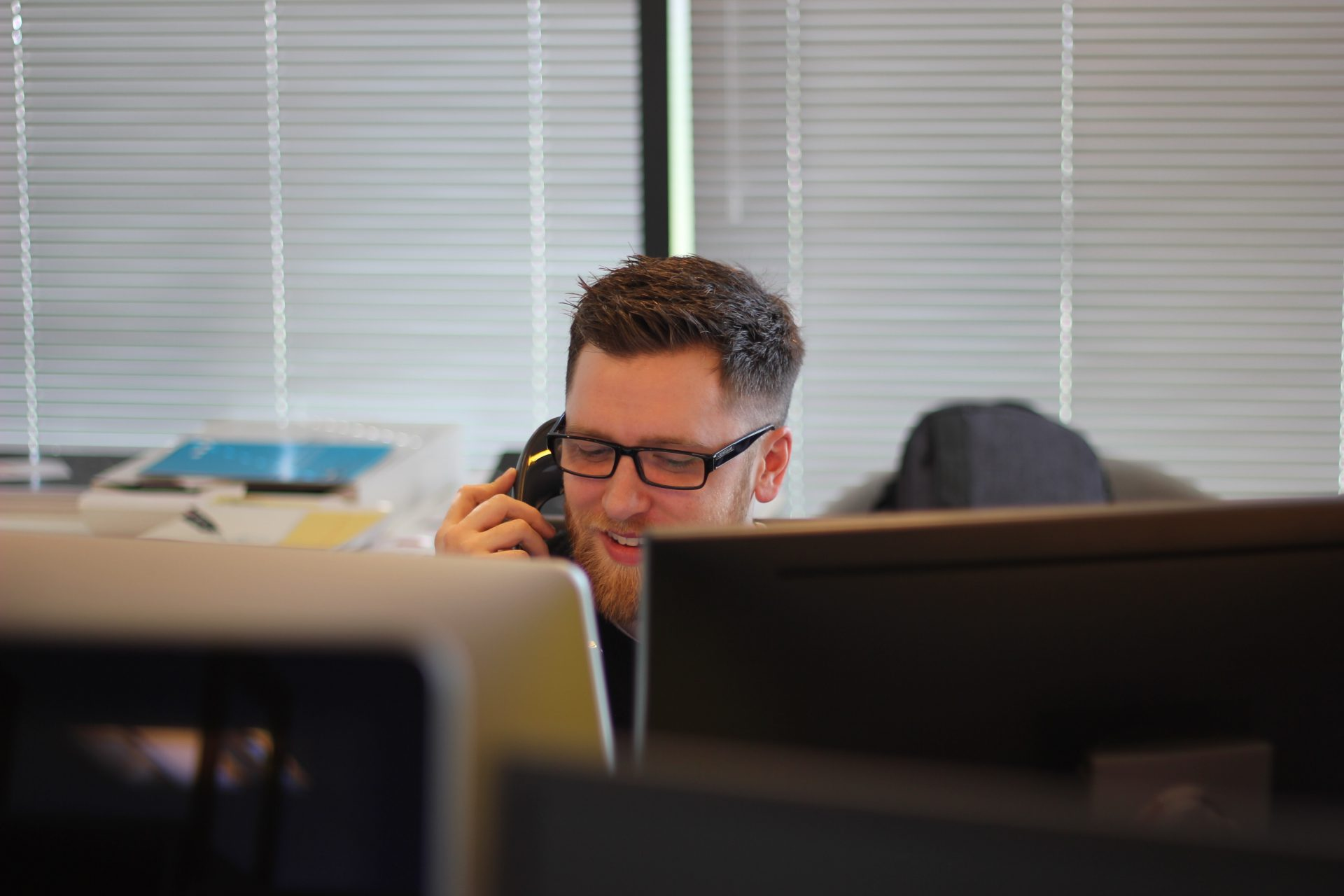 Man on call in an office